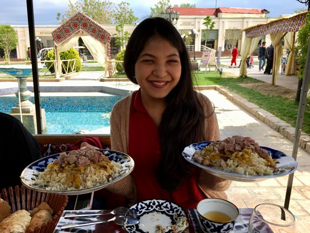 Plov is served after the myriad of salads and appetisers very much like the Middle Eastern mezze