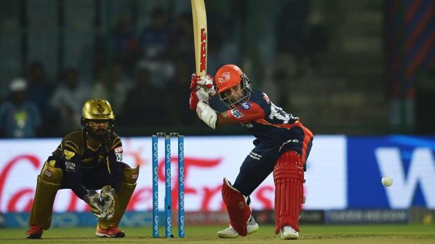 Delhi Daredevils player Prithvi Shaw plays a shot against Kolkata Knight Riders during the IPL 2018 match at Feroz Shah Kotla in New Delhi, on Friday.(PTI)