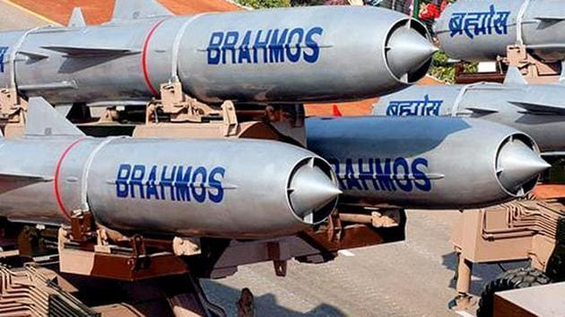 A file photo of the BrahMos missiles on display during a Republic Day parade in New Delhi.(HT Photo)