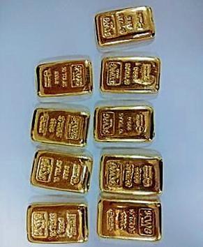 The gold bars retrieved on Monday at Mumbai airport.(HT)