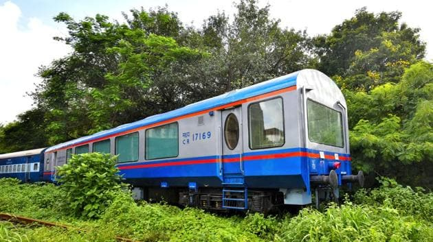 First Vistadome coach at Wadibunder in Mumbai. The Vistadome high-end coaches have opalescent roof glass windows which can be made opaque or transparent through centrally-controlled electrical switches.(HT File Photo)