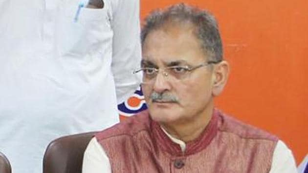 Kavinder Gupta during a press conference on cabinet reshuffle in Jammu.(PTI)