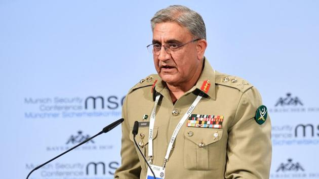 Pakistan's Chief of Army Staff Qamar Javed Bajwa speaks at the 54th Munich Security Conference, February 17(AFP)
