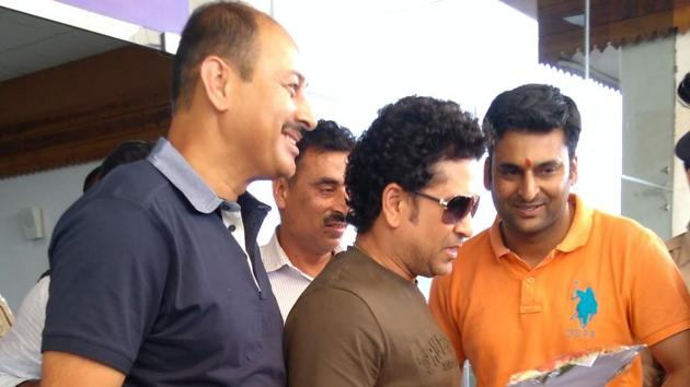 Sachin Tendulkar is in Dharamshala to lay the foundation stone of a cricket museum to be set up by the Himachal Pradesh Cricket Association.(HT Photo)