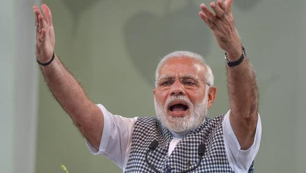 Addressing an election rally, Prime Minister Narendra Modi said the Congress has failed in keeping its promises about electrifying villages.(PTI)