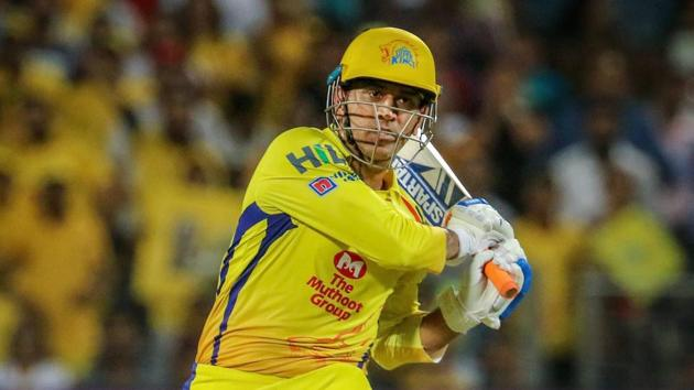Chennai Super Kings (CSK) captain MS Dhoni hits a boundary during the 2018 Indian Premier League (IPL 2018) match against Delhi Daredevils in Pune on Monday.(PTI)