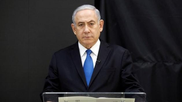 Israeli Prime minister Benjamin Netanyahu speaks during a news conference at the ministry of defence in Tel Aviv on April 30, 2018.(REUTERS)