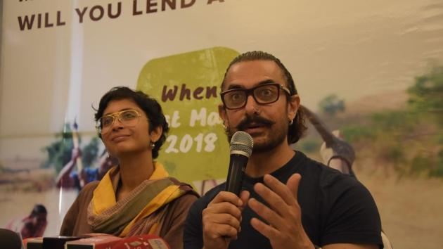Aamir Khan and his wife Kiran Rao address a press conference regarding Jalmitra campaign for their Paani Foundation in Nagpur.(IANS)