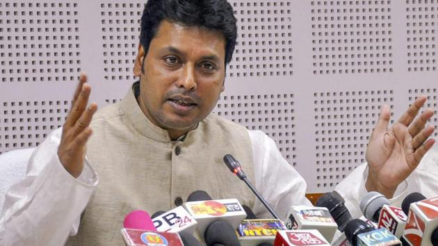 Tripura Chief Minister Biplab Kumar Deb has advised youth to rear cows for regular income rather than running after government jobs.(PTI)