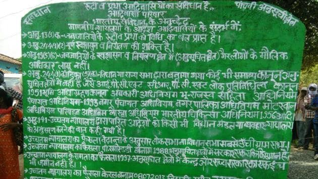 """Several villages in Chhattisgarh's Jashpur were declared as """"autonomous republics"""" by tribals.(HT Photo)"""