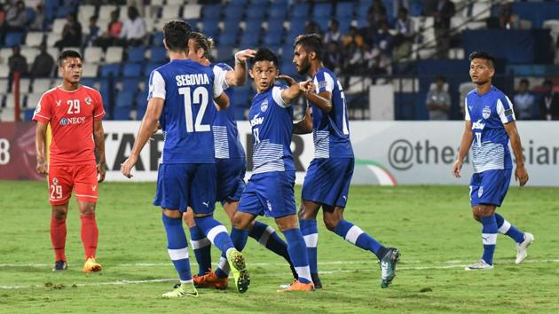 Bengaluru FC cruised to a comfortable 5-0 win over Aizawl FC in their AFC Cup clash on Wednesday.(HT photo)