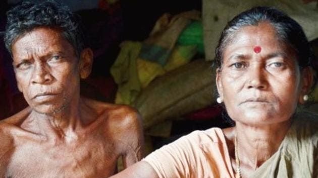 Ajay (left) and Madhuri Bagdi at their home in Birbhum district. Madhuri Bagdi was particularly keen to contest this year since the panchayat was reserved for women.(HT Photo)