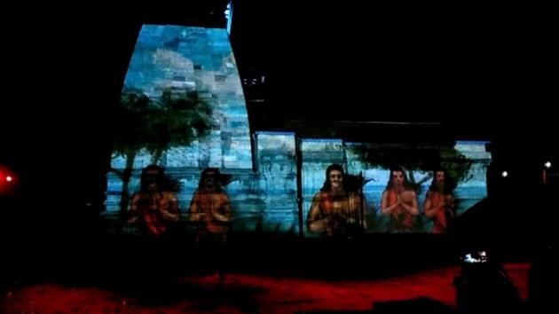 The laser show presented at the Kedarnath shrine in Uttarakhand. The show, titled 'The Eternal Shiva', was introduced at the shrine this year as a new attraction for devotees.(Video Grab)