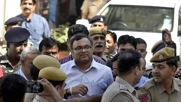 Karti Chidambaram coming out after the hearing at Patiala House Court in New Delhi, India.(HT File Photo)