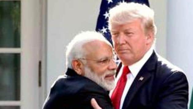 File photo of Prime Minister Narendra Modi greeting US President Donald Trump at the White House last year.(PTI)