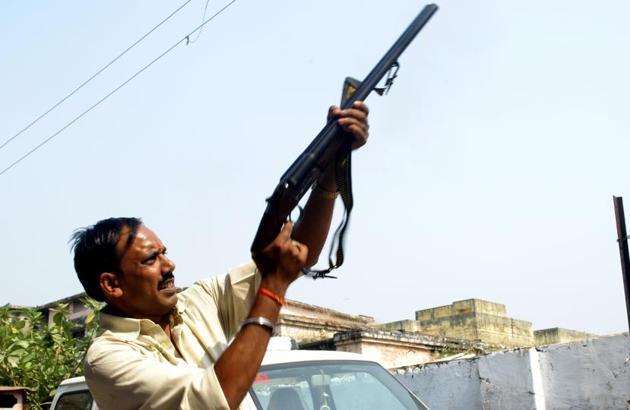 Groom's family member seen harsh firing at a wedding at Prince Palace in Lakhimpur of Uttar Pradesh.(HT Photo)