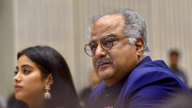 Boney Kapoor and his daughter Janhvi, during the 65th National Film Awards function at Vigyan Bhavan in New Delhi on Thursday.(PTI)