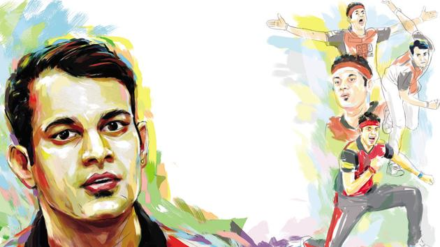 Siddarth Kaul has taken 11 wickets in 8 matches for Sunrisers Hyderabad in the Indian Premier League (IPL) 2018, the second highest wicket taker after medium pacer Trent Boult.(Biswajit Debnath/HT Illustration)