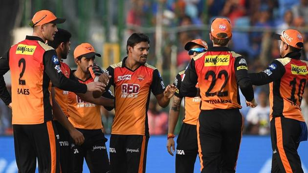 Sunrisers Hyderabad have been without Bhuvneshwar Kumar in the last few IPL 2018 gams but the likes of Sandeep Sharma (C) and Siddarth Kaul have pitched in well.(AFP)