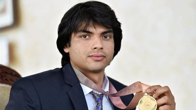 Neeraj Chopra won the gold medal in men's javelin throw at the 2018 Commonwealth Games in Gold Coast.(PTI)