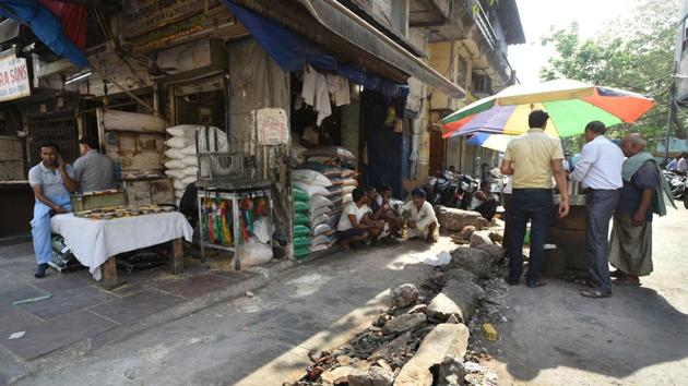 A view of the shops from where the MCD officials removed encroachments during yesterday's anti-encroachment drive at Khari Baoli, New Delhi.(HT File Photo)