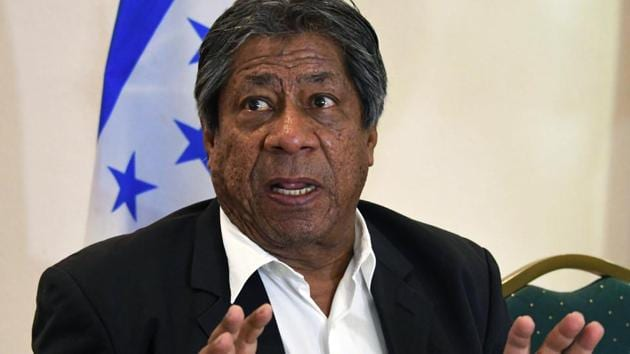 """The former head coach of Salvadoran national football team, Honduran Ramon """"El Primitivo"""" Maradiaga, speaks during a press conference in Tegucigalpa, on May 2, 2018. Maradiaga, denied the charges of """"attempt of manipulation"""" during the CONCACAF qualifying matches heading to Russia's World Cup.(AFP)"""