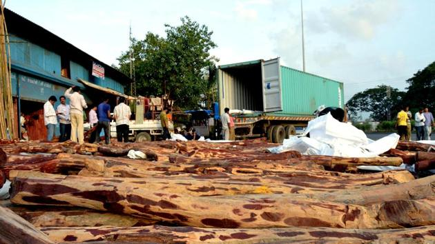 Majority of the seized 600 tonnes is being stored at Sajgaon depot in Khalapur range of Alibaug forest division.(HT FILE)