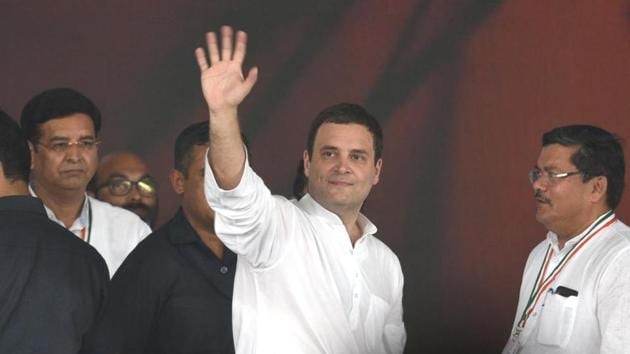 Congress President Rahul Gandhi during 'Jan Akrosh Rally' at Ramlila Ground in New Delhi.(HT File Photo)