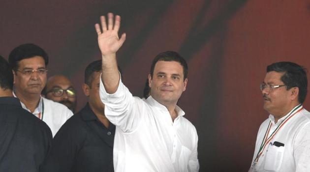 NCongress President Rahul Gandhi during 'Jan Akrosh Rally' at Ramlila Ground in New Delhi, India, on Sunday.(HT File Photo)
