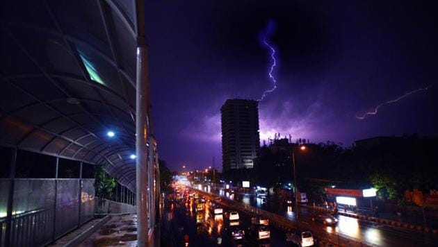 A bolt of lightning captured over the Delhi sky during the thunderstorm on Wednesday. More than 100 people died and many were injured due to the storm and squall that hit several states in north and west India.(Raj K Raj/HT photo)