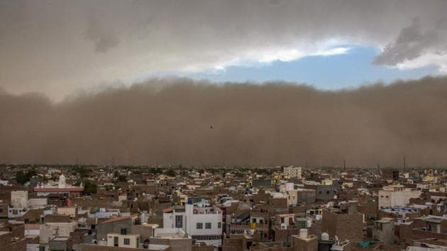 A dust storm approaches the city of Bikaner on Wednesday.(PTI Photo)