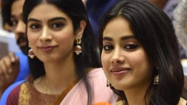 Sridevi's daughters Janhvi and Khushi during the 65th National Film Awards function at Vigyan Bhavan in New Delhi.(PTI)
