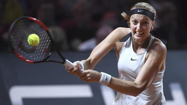 Petra Kvitova of Czech Republic in action during a match at the WTA tennis tournament in Prague.(AP)