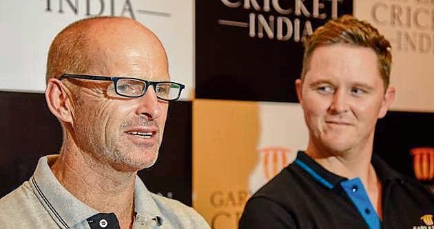 Gary Kirsten (left) announced the launch of his cricket academy at JW Marriot on Friday.(SANKET WANKHADE/HT PHOTO)