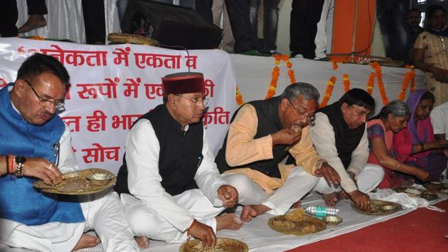 Under the Bharatiya Janata Party's Gram Swaraj Yojana, ministers dine at the houses of Dalits and stay overnight in the villages.(HT File Photo)