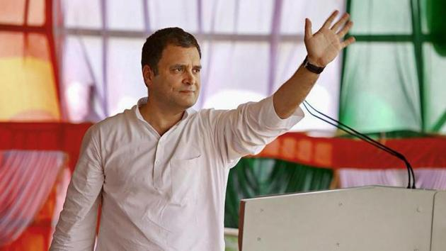 Congress president Rahul Gandhi waves during a public meeting ahead of the Karnataka assembly elections at Bheemanna Khandre Institute of Technology ground in Aurad on Thursday.(PTI)