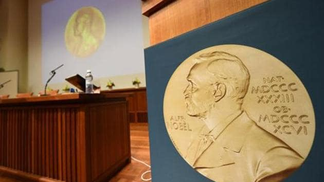 A medal of Alfred Nobel is pictured prior to the beginning of a press conference in Stockholm.(AFP File Photo)