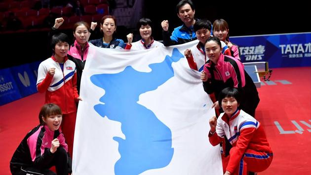 Members of the unified Korea team after the game. They lost to Japan in the World Team Table Tennis Championships semi-finals at the Halmstad Arena on Friday.(Reuters)