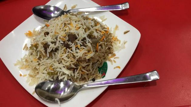 The chicken pieces in Baba's biryani are nice and plum.(HT photo)