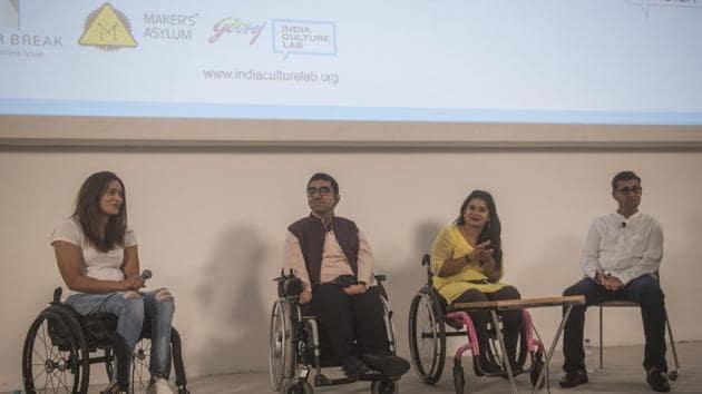 (From left) Kartiki Patel, Nipun Malhotra, Virali Modi and Divyanshu Ganatra during the panel discussion at Godrej Culture Lab auditorium, Vikhroli, Mumbai on Friday.(Pratik Chorge/HT Photo)