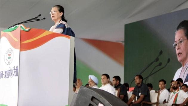 Former Congress president Sonia Gandhi addresses a party event in New Delhi.(PTI FILE)