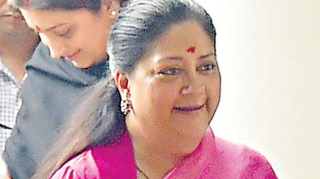 Rajasthan chief minister Vasundhara Raje after meeting Amit Shah in New Delhi on Sunday.(HT Photo)