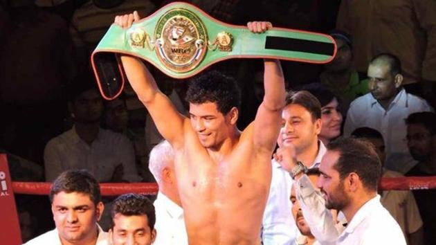 Neeraj Goyat, who has won nine of his 13 professional boxing bouts, will contest for a second belt next month.(PTI)
