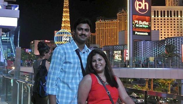 Sunayana Dumala with her husband Srinivas Kuchibhotla in Las Vegas.(AP file)