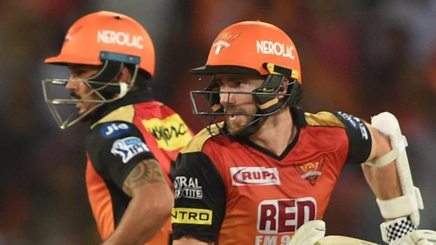 Sunrisers Hyderabad batsmen Kane Williamson and Manish Pandey running between the wickets during an IPL 2018 match against Delhi Daredevils in Hyderabad on Saturday.(PTI)