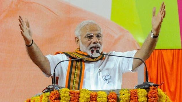 Prime Minister Narendra Modi addressing at an election campaign rally in Mangaluru, Karnataka on Saturday.(PTI File Photo)