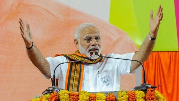 Prime Minister Narendra Modi addresses at an election campaign rally in Mangaluru in Karnataka on Saturday.(PTI Photo)