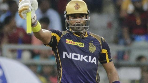 Robin Uthappa scores fifty for Kolkata Knight Riders against Mumbai Indians in the Indian Premier League (IPL) 2018 on Sunday.(AP)