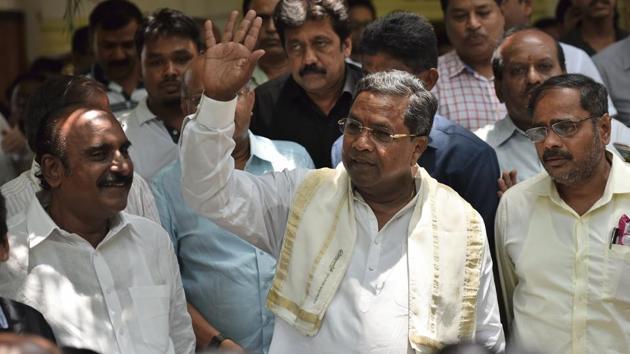 Karnataka CM Siddaramaiah after a press conference in Bengaluru on Sunday.(Arijit Sen/HT Photo)