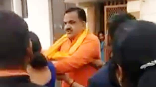 MLA Rajkumar Thukral was also in news a month ago for allegedly roughing a woman, who had come to him to resolve a matter.(HT File)